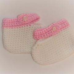 Baby Girl Mary Jane crocheted booties -white with pale pink trim