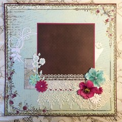 Handmade Scrapbooking Page - flowers, lace