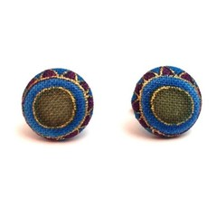 12mm Fabric Button Earrings with Gold Lining, Surgical Stainless Steel Earrings