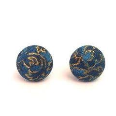 Blue and Gold Fabric Button Earrings, Surgical Stainless Steel Earrings