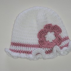 Crocheted baby girl hat, beanie - white with dusty rose trim size 3-6 months
