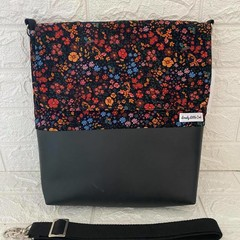 LARGE MESSENGER BAG - FLORAL Roses, Orchid