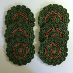 'Evergreen and Rust' Set of Six Coasters