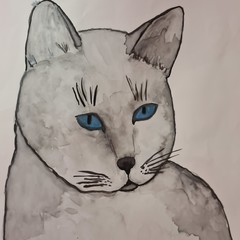 Original watercolour grey cat