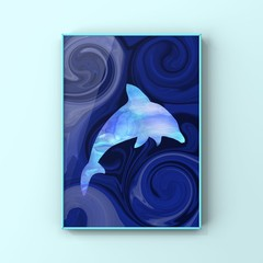 Dolphin Love - original artwork, instant digital download, abstract  artwork, se