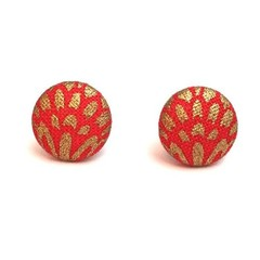 Small Fabric Button Earrings in Red and Gold, Surgical Stainless Steel Earrings