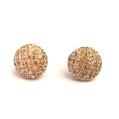 Beige and Gold Fabric Button Earrings, Surgical Stainless Steel Earrings