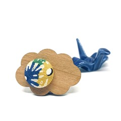 Kimono Cloud Brooch - Yellow and Blue