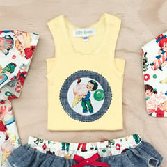 Singlet - Candy Shop - Ice cream - Retro - Yellow