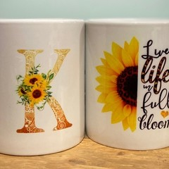 Live Life in Full Bloom -11oz ceramic coffee mug, sunflowers, personalised