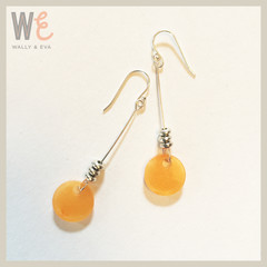 Long Dangle Round Disc Earrings - Tangerine Metallic