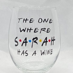 The one where... HAS A WINE -  'friends' stemless wineglass
