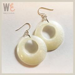 60's Hoop Style Eco Resin Drop Earrings - Pearl White