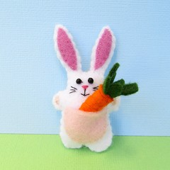 Rabbit with a Carrot - miniature felt bunny vegetable - Softie toy