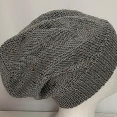 Unisex adult hand knit Slouchy-beanie Australian Tweed Wool 1/2