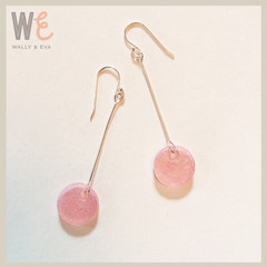 Long Dangle Round Disc Earrings - Pale Rose Metallic