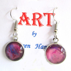 Acrylic Pour Round Drop earrings Set 3