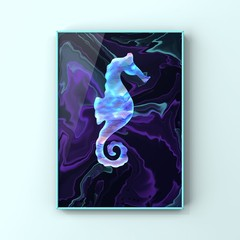 Seahorse Love - original artwork, instant digital download, abstract artwork
