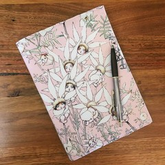 Note Pad Cover - Flannel flowers on pink