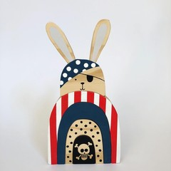 Handmade Wooden Pirate Rabbit Stacker.
