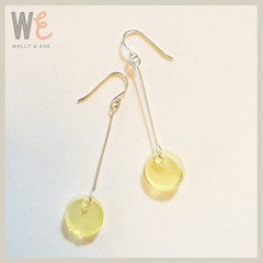 Long Dangle Round Disc Earrings - Lemon translucent