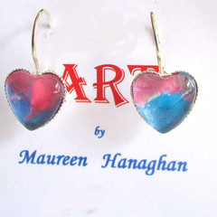Acrylic Pour Heart Drop earrings Set 4