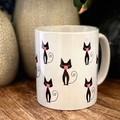 Coffee with Cats, 11oz ceramic coffee mug, cat lover, original artwork,