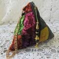 Velvet Wristlet - Pyramid Bag with Luxurious Printed Velvet