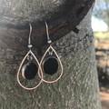 Cowhide teardrop earring