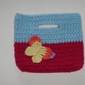 Handmade girls crochet bag cerise light blue/ tote bag/kids bag/kids gift idea