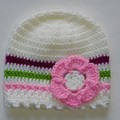 Crocheted baby girl hat, beanie - white with multicolour trims size 3-6 months