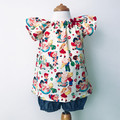 Smock Top - Candy Shop - Peasant Top - Cream  - Red