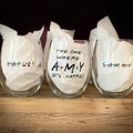 "Set of 6.. ""GETS MARRIED"" friends' stemless wine glass"