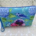 Ladies Wristlet Clutch- Turquoise Pansy - Day Wear, Race Day, Garden Party