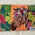 SMALL POUCH - FLORAL PETS - JUNGLE MANIA, Hippo, Toucan, Zebra, Lion