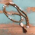 Wooden & Tassel drop Necklace
