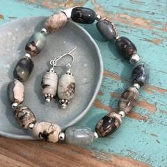 Algae swirls bracelet & earring set