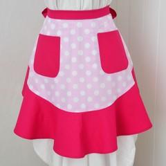 Half Apron - Pink & White Polka Dots