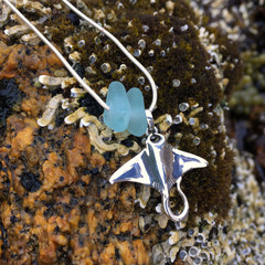Dolphin Dive Sea Glass Pendant