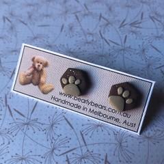 Paw print tiny hexagon stud earrings