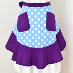 Half Apron - Blue Polka Dots & Purple