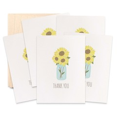 Thank You Card Pack - Sunflowers in Mason Jar - Set of 5 Cards - 5P012