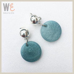 Clip-On Round disc drop earrings  |  FREE SHIPPING