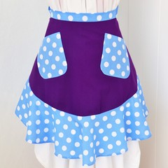 Half Apron - Purple & Blue Polka Dots