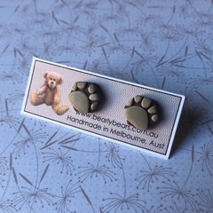 Paw print tiny hexagon stud earrings