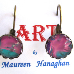 Acrylic Pour Round Drop Earrings Set 5