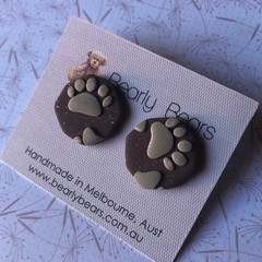 Paw print earrings rounded hexagons