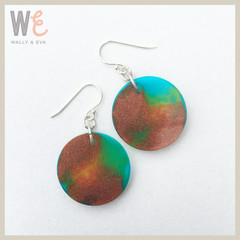 Round Disc Drop Earrings - Large       FREE SHIPPING