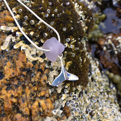 Whale Calling Sea Glass Pendant