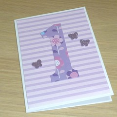 Girls 1st birthday card - pink and purple butterflies